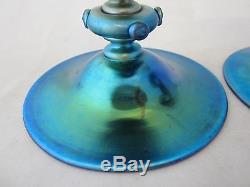 Pair Signed Steuben Blue Aurene Art Glass 4 Candlesticks Candle Holders #6384