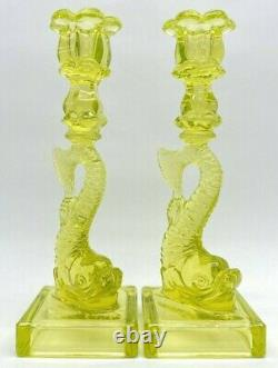 Pair Vaseline Glass Koi Fish Candlesticks Candle Holders MMA Imperial