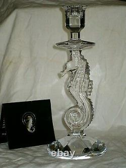 Pair WATERFORD Crystal SEAHORSE Candlesticks 11 Set 2 Candle Holders NIB GIFT