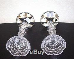 Pair Waterford Seahorse Pillar Candlesticks, Candle Holder, Lead Crystal, 11 1/4