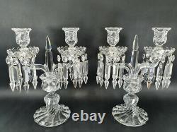 Pair candlesticks candelabra 2 lights crystal chandelier Baccarat Bamboo twentie