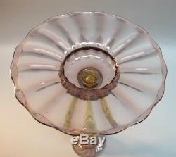 Pair of 12 STEUBEN Purple & Amber Art Glass Candle Holders c. 1930s antique