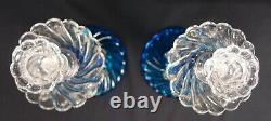 Pair of Fostoria Queen Anne Blue Candelabra Candle Stick Holders Lustres