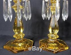 Pair of Heisey Old Williamsburg Sahara Yellow Candlesticks Candleholders