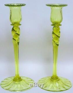 Pair of Scarce Steuben Citron (Vaseline) 10 Venetian Style Candlesticks