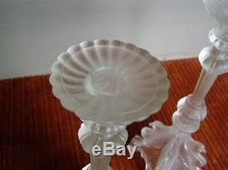 Pair of Val St Lambert Signed Frosted Glass Candlestick Holders