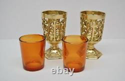 Pair of Votive Light Candle Holders with Amber Glass (#284)