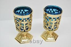 + Pair of Votive Light Candle Holders with Blue Glass + (#284)