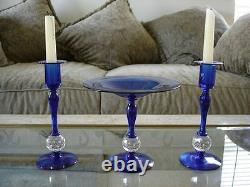 Pairpoint Art Glass 3 Cobalt Blue Controlled Ball Console Pieces