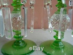 Pairpoint Glass Green & Controlled Bubbles 9.5 Candlesticks with Prisms