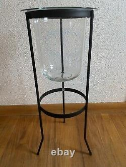 PartyLite Seville 3 Wick Glass Candle Holder Wrought Iron Stand Retired Rare HTF