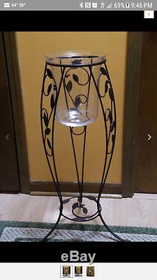 PartyLite Verona Candle Stand and 3 Wick Glass Vase. Rare Retired. Preowned