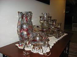 Partylite Mosaic Glass Candle Holders & brass bases, HUGE 22 piece LOT! Retired