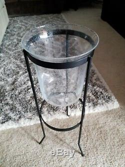 Partylite Seville Verona 3-Wick Candle Holder Glass Hurricane Insert Bubbles