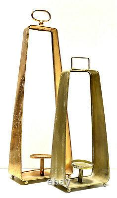 Patio Lantern Candle Holder French Gold Oxidized Metal 32 & 23 Set Of 2