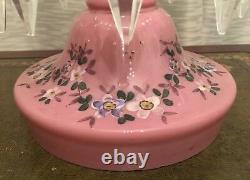 Pink Cased Glass Enamel Flowers Mantle Luster Lustre Candle Holder Prisms