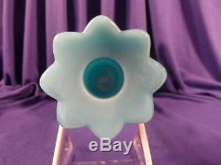 Portieux Vallerysthal Blue Milk Glass Chimeres Pair of Candle Holders