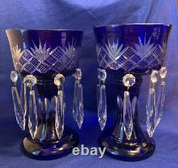 Pr Antique Cobalt Blue Cut To Clear Mantle Lusters Bohemian Crystals Candlestick