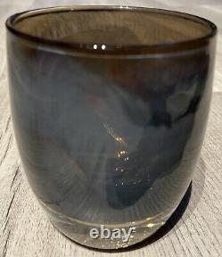 RARE Glassybaby WISE Votive Candle Holder IRIDESCENT SMOKE GRAY Hand Blown #1336