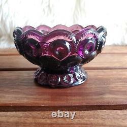 RARE Vintage L. E. Smith Amethyst Purple 2-Piece Glass Fairy Lamp Candle Holder
