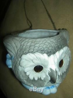 RARE antique bisque signed KPM FAIRY LAMP Glass Eyes Owl & Pussy Cat orig. Chains