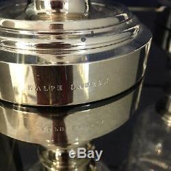 Ralph Lauren Hurricane Glass Silver Pillar Candle Holders Set Pair Tall Classic