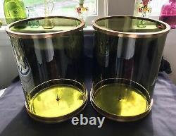 Ralph Lauren Modern Handblown Green Glass 12 Hurricane Candleholders (2)