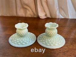 Rare Fenton Candle Holders Set of 2 1950s Green Pastel Hobnail Mint