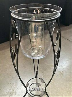 Rare & HTF PartyLite Verona Leaf Design CANDLE STAND with 3-Wick Glass Hurricane