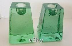 Rare Signed Fire And Light Recycled Glass Candle Holder Pair