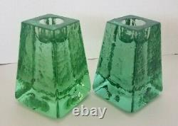 Rare Signed Fire And Light Recycled Glass Candle Holder Pair in stunning green