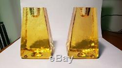 Rare Signed Fire And Light Recycled Glass Candle Holder Pair yellowithgold
