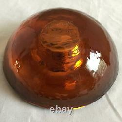 Rare Signed Fire & Light Recycled Glass Copper LARGE 6 Round Candle Holder