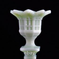Rare beautiful Pair of Jadeite Art Glass French Eiffel Tower Candlesticks