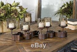 Ribbon XXL 24 Aged Bronze Metal Candelabra Candle Holder Glass Globes Uttermost