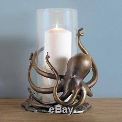 SPI Home Aluminum Octopus Hurricane Candleholder 14H
