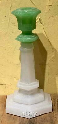 Sandwich Glass Jade & Alabaster Glass Hexagonal Candlestick Holder, c. 1840