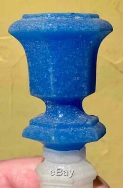 Sandwich Glass Starch Blue & Alabaster Glass Hexagonal Candlestick Holder