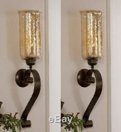 Set 2 Glass Wall Sconce Antiqued Bronze Amber Glass Candle Holders Forged Metal