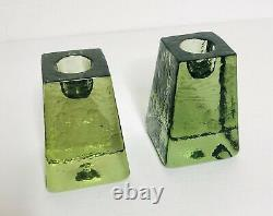 Set FIRE & and LIGHT Green Recycled Art Glass Candle Holders 3H Modern Signed
