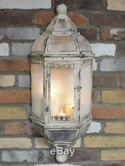 Set Of 2 Antique Vintage Wall Lantern Sconce Candle Holder 78cm Pair Of