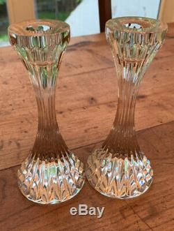 Set Of 2 Baccarat Crystal MASSENA Candlesticks Made in France MINT CONDITION