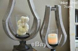 Set of 2 Natural Wood & Glass Candle Holders, Nautical, Coastal Charm, Farmhouse