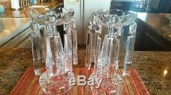 Set of 2 WATERFORD Crystal Candelabra Candlesticks with Bobeches, and crystals