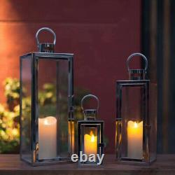 Set of 3 Glass wind lamp Stainless Steel Floor Lantern Candle Holder Black CX502