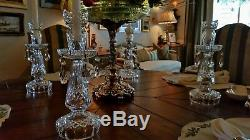 Set of 4 WATERFORD Crystal Candelabra Candlesticks with Bobeches