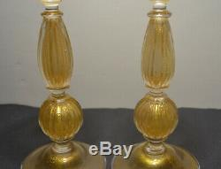 Signed Archimede Seguso Murano Art Glass Candlesticks 2