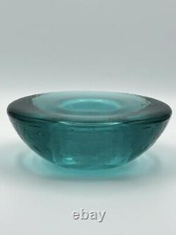 Signed FIRE and LIGHT Recycled Glass Wide Lip Aqua Candle Holder Votive 6