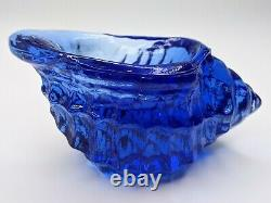 Signed Fire And Light Cobalt Blue Sea Shell/ Conch Votive Candle Holder