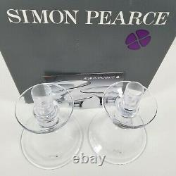 Simon Pearce Glass Candle Holders Candlestick 7 Tall -Blown Glass Mint QTY2